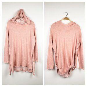 Free People Beach Pink Split Sides Hooded Shirt